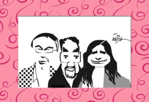 O trio na charge de Erico San Juan, enviada por Guarabyra