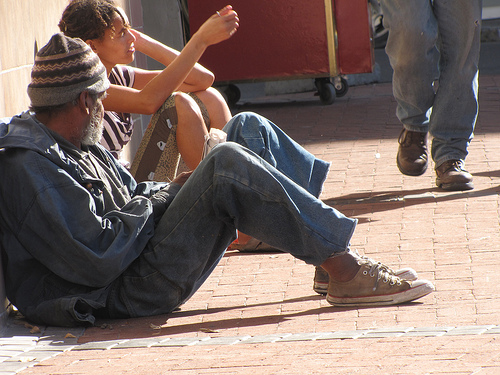 Morador de rua na Cidade do Cabo