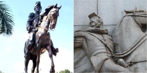 A estátuta em Duque de Caxias e o detalhe da Batalha de Itororó