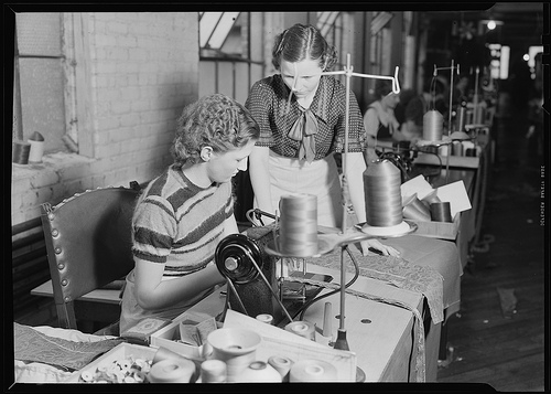 Sewing and cutting of cloth (all women), 1936