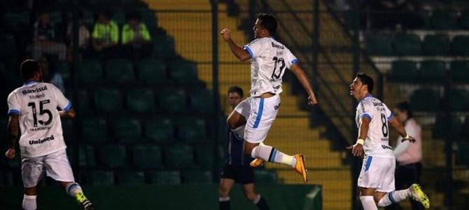 O primeiro gol de Bobô (imagem: site oficial do Grêmio)